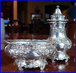 Fancy Gorham Sterling Silver Large Open Master Salt & Pepper Shaker Set 1916