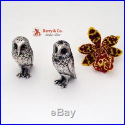 Figural Owl Salt and Pepper Shakers Sterling Silver