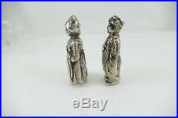 Fine Antique Solid Silver Dutch Girl / Boy Shaker Set Exc Cond. 800 Ag