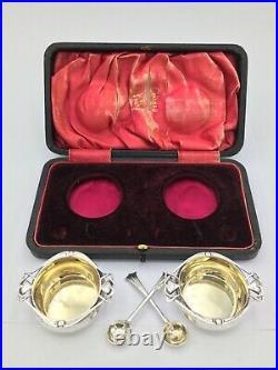 Fine Edwardian Silver Arts & Crafts Salts & Spoons Josiah Williams & Co 1909