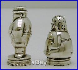 Finland Solid Silver Salt & Pepper Shaker Casters Marked Turku Figural Man Woman