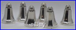 Georg Jensen Denmark Sterling Salt & Pepper Shakers Acorn Pattern 6 Pieces Nice