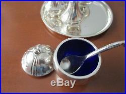 Georg Jensen cruet set #433 salt and pepper shakers, mustard pot, tray, excellent