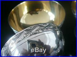 George Unite Antique Silver Salts & Spoons (cased) Birmingham 1864