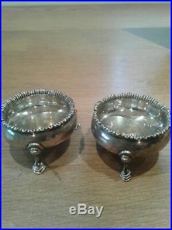 Georgian Antique English Sterling Silver Salts London 1768