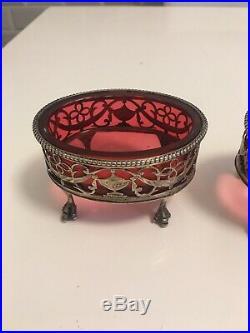 Georgian Pierced Silver Cranberry Glass Salt Cellars 1775 Rare