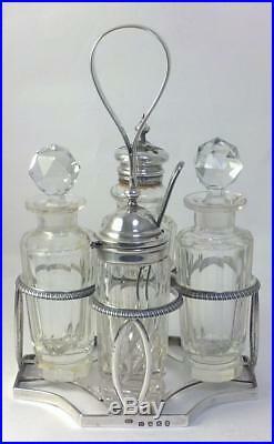 Georgian hallmarked Sterling Silver Cruet Stand & Later Condiment Bottles 1805