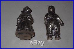 German 800 Silver Boy & Girl Pair Figural Salt & Pepper Shakers