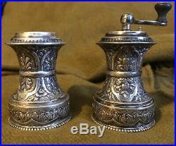 German 800 Silver Repousse Salt And Pepper Grinder Shaker