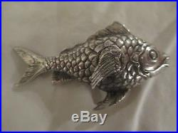 German 800 silver FISH Figural Salt & Pepper shakers Dutch / Austrian