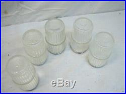 Glass Hoosier Ribbed Jars Tin Top Lid Canister Salt Pepper Spice Shaker Holder