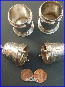 Good Pair Of Victorian Heavy Gauge Silver Pepper Castors