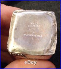 Gorham Antique Mixed Metal Sterling Silver Hammered Salt & Pepper Shakers