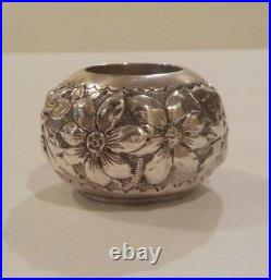 Gorham Sterling Silver Salt Cellar, Chased Floral Design, 20 grams