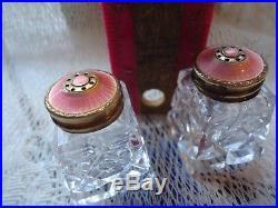 Guilloche Enamel Pink Topped Salt/Pepper Shakers Cut Glass & Sterling Mint