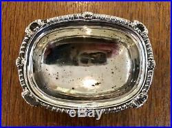 HEAVY SOLID SILVER CRUET SET. & Blue Liners. London EBS Ltd 1930. SILVER 190g