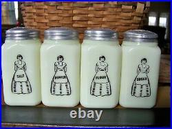 HTF! Antique Depression Era McKee Custard Lady with Apron Shaker Set of 4