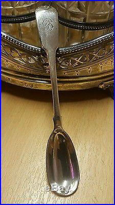 HW&Co solid silver cruet/condiment set with george III teaspoon shed find