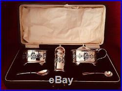 Hallmarked 1927 Sterling Silver 5 Piece Cruet Set with Original Blue Liners & Box