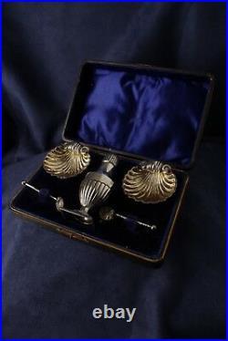 Hallmarked Silver 5 Piece Cruet Set By Joseph Hawkins 1897