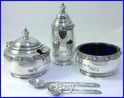 Hallmarked Silver Cruet Set (Mustard Pot/Salt & Pepper Shakers) -1936 by Asprey