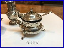 Hallmarked Silver & Hallmarked Salt, Pepper & Mustard Set
