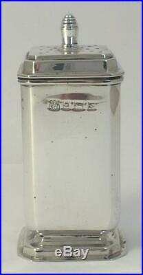 Hallmarked Sterling Silver Cruet Set (Mustard & Pepper Pots & Salt Cellar) 1967