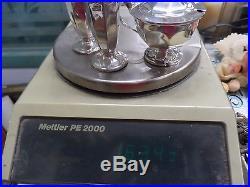 Hallmarked antique sterling silver salt& pepper shakers &condiment server 163.4g