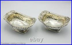 Impressive large Georgian solid silver salt bowls Solomon Hougham vine leaf 1816