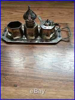 Iraq silver niello cruet set