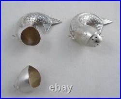 J. Tostrup Sterling Silver Salt & Pepper Shakers Fish Figural