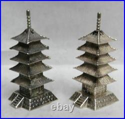 JAPANESE 950 STERLING SILVER PAGODA TOWER's SALT & PEPPER SHAKER