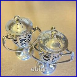 James Deakin & Sons Sterling Silver Chester 1906 Pierced Salt Pepper Shakers