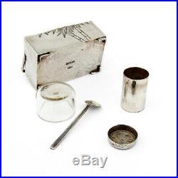 Japanese Figural Pepper Shaker Salt Cellar Basket Form Sterling Silver