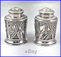 Japanese Sterling & Glass Bamboo Salt & Pepper Shakers