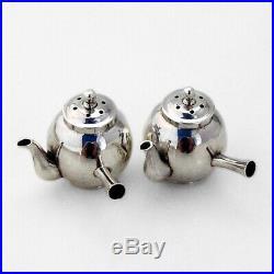 Japanese Teapot Form Salt Pepper Shakers Pair Sterling Silver 1950