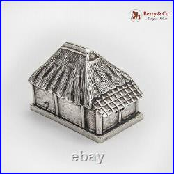 Japanese Thatched Roof House Form Salt Shaker Sterling Silver