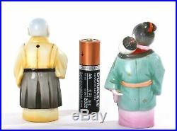 Japanese Toshikane Monk & Babysitter Salt Pepper shaker Marked
