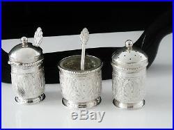 Kelantan Malaysia Silver Condiment Set on Stand, 20th Century