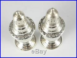 La Pierre Sterling Silver Salt & Pepper Shakers #25A c1900 Raised Floral Design