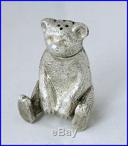 Large Antique Silver Teddy Bear Pepperette Pepper Pot Edwardian Hallmarked 1909