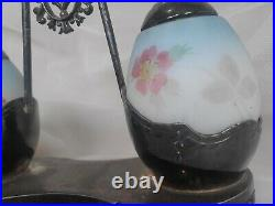 Late 1800's Painted Egg Salt And Pepper Shaker With Silver Plated Caddy