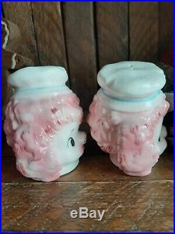 Lefton pink poodle Chef. Rare HTF vintage Salt And Pepper Shakers