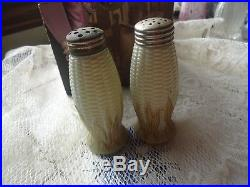 Libbey Maize Antique art glass tan/gold corn husk Salt & Pepper shakers set