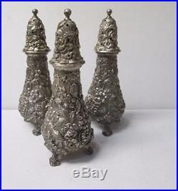 Lot of 3 Stieff Sterling Silver Sugar Salt and Pepper Shakers 12A