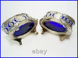 Lovely Pair Antique Victorian Ornate Pierced Hm Solid Silver Salts 6241/hw 1893