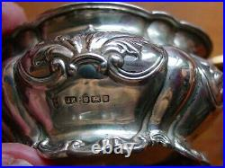 Lovely Pair Hallmarked Silver Salt Dishes And Spoons Sheffield 1909