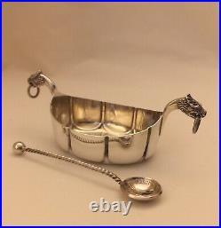 Marius Hammer Antique Scandinavian Sterling Silver Viking Boat Salt & Spoon