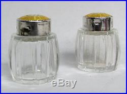 Meka Denmark Sterling Silver Golden Enamel Mini Crystal Salt & Pepper Shakers