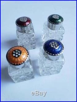 Mid-Century Raimond Guilloche Sterling Silver Crystal Salt Pepper Shakers 4